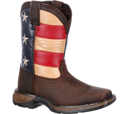 """Children's Durango Boot DBT0160 8"""" Lil' Rebel Boot, Brown/Union Flag Leather/Faux Leather, large, image 1"""