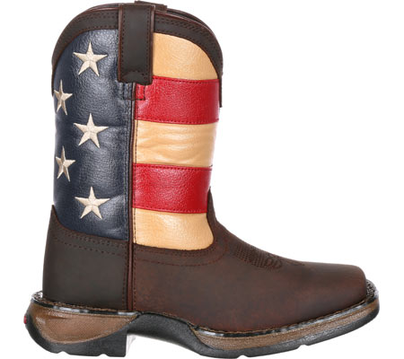 """Children's Durango Boot DBT0160 8"""" Lil' Rebel Boot, Brown/Union Flag Leather/Faux Leather, large, image 2"""