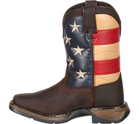 """Children's Durango Boot DBT0160 8"""" Lil' Rebel Boot, Brown/Union Flag Leather/Faux Leather, large, image 3"""