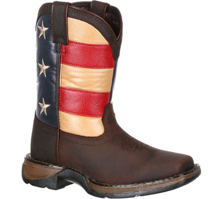 """Children's Durango Boot DBT0159 8"""" Lil' Rebel Boot, Brown/Union Flag Leather/Faux Leather, large, image 1"""