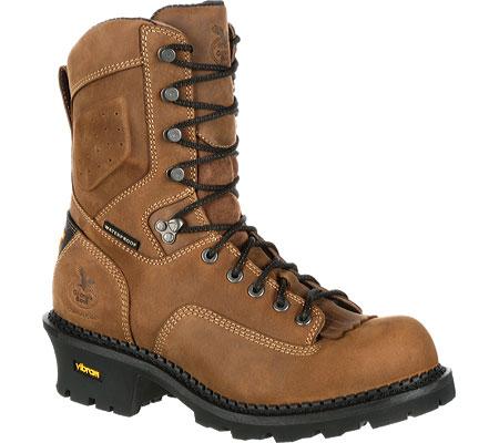 "Men's Georgia Boot GB00096 9"" CC Logger Waterproof Work Boot, Brown Full Grain Leather, large, image 1"