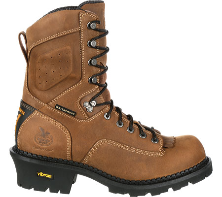 "Men's Georgia Boot GB00096 9"" CC Logger Waterproof Work Boot, Brown Full Grain Leather, large, image 2"