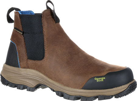 """Men's Georgia Boot GB00106 5"""" BC Chelsea Waterproof Work Boot, Dark Brown Full Grain Leather, large, image 1"""