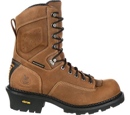 "Men's Georgia Boot GB00098 9"" CC Insul Logger Waterproof Work Boot, Brown Full Grain Leather, large, image 2"