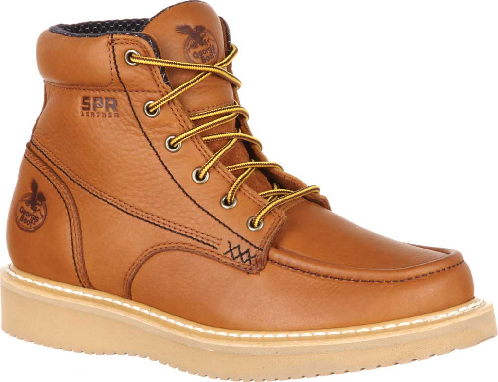 "Men's Georgia Boot GB00177 6"" Moc-Toe Wedge Work Boot, Barracuda Gold Full Grain Leather, large, image 1"