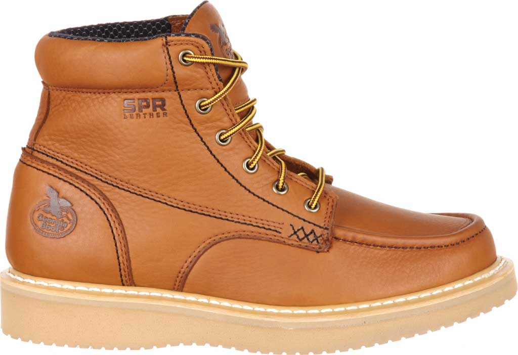 "Men's Georgia Boot GB00177 6"" Moc-Toe Wedge Work Boot, Barracuda Gold Full Grain Leather, large, image 2"