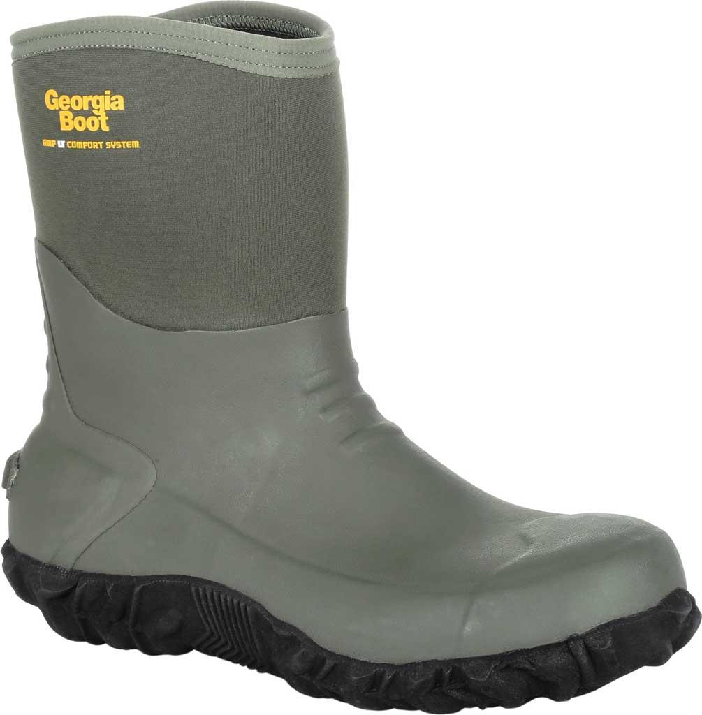 Men's Georgia Boot GB00231 Waterproof Mid Calf Rubber Boot, Green Rubber, large, image 1