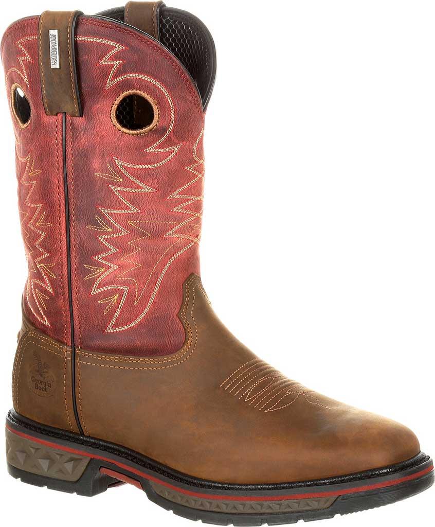 Men's Georgia Boot GB00221 Carbo-Tec Waterproof Pull-on Work Boot, Brown/Red Full Grain Leather, large, image 1