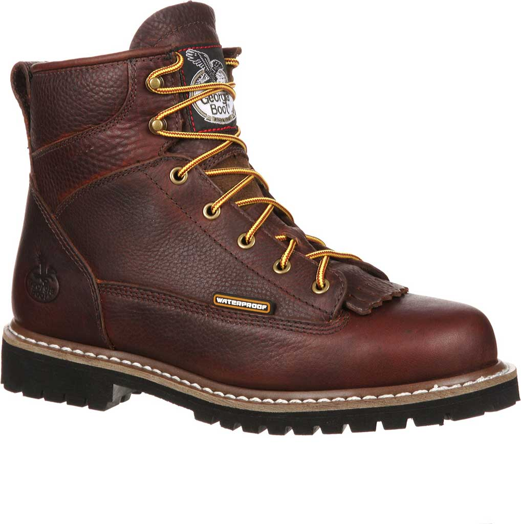 Men's Georgia Boot GBOT053 Lace-To-Toe Steel Toe Waterproof Work Boot, Chocolate Full Grain Leather, large, image 1