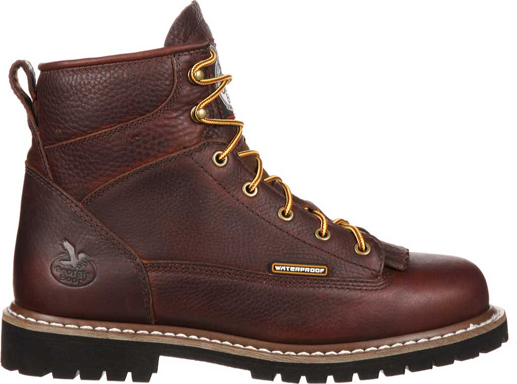 Men's Georgia Boot GBOT053 Lace-To-Toe Steel Toe Waterproof Work Boot, Chocolate Full Grain Leather, large, image 2