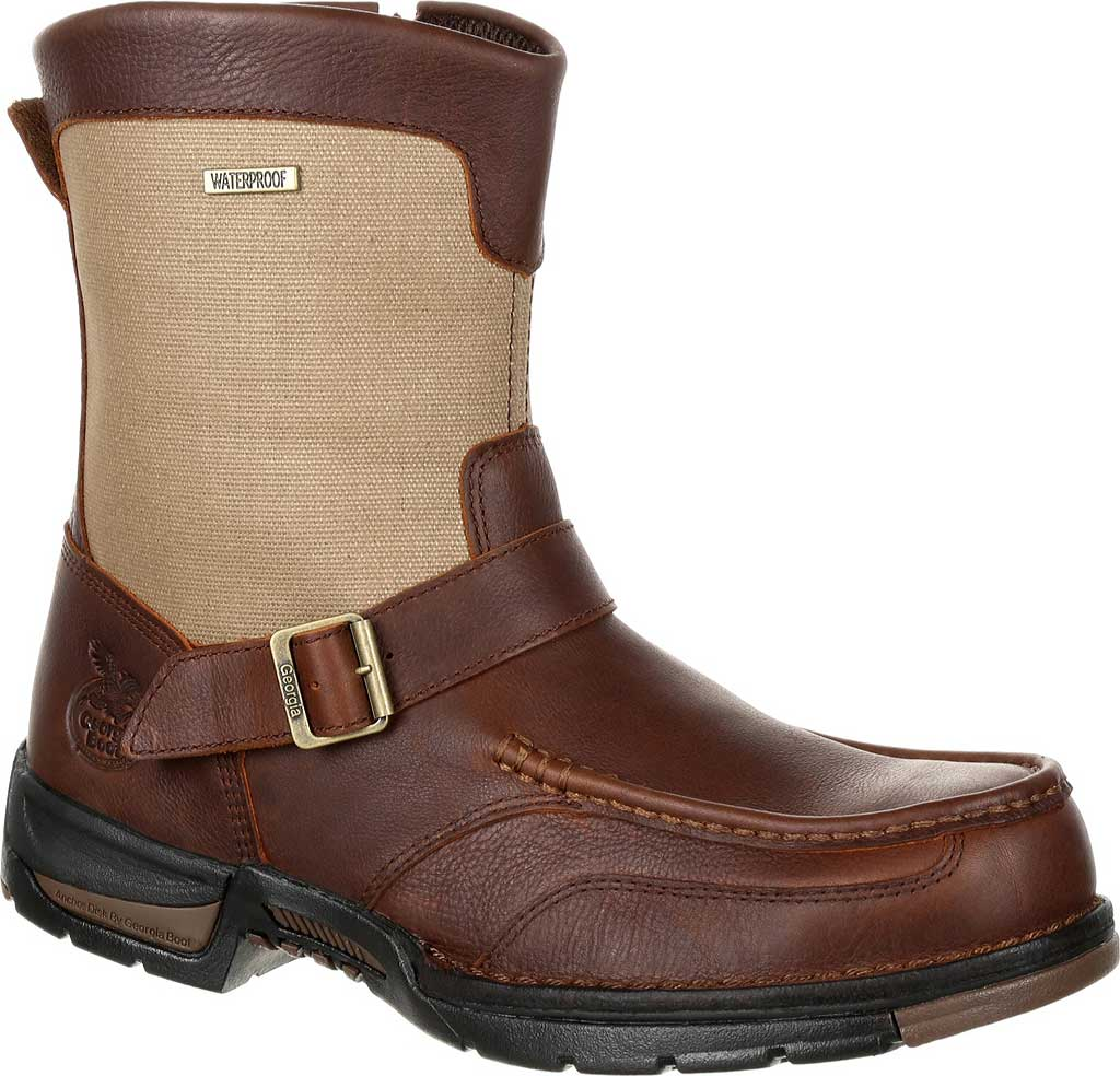 Men's Georgia Boot GB00245 Athens Waterproof Side-Zip Boot, Brown Full Grain Leather, large, image 1