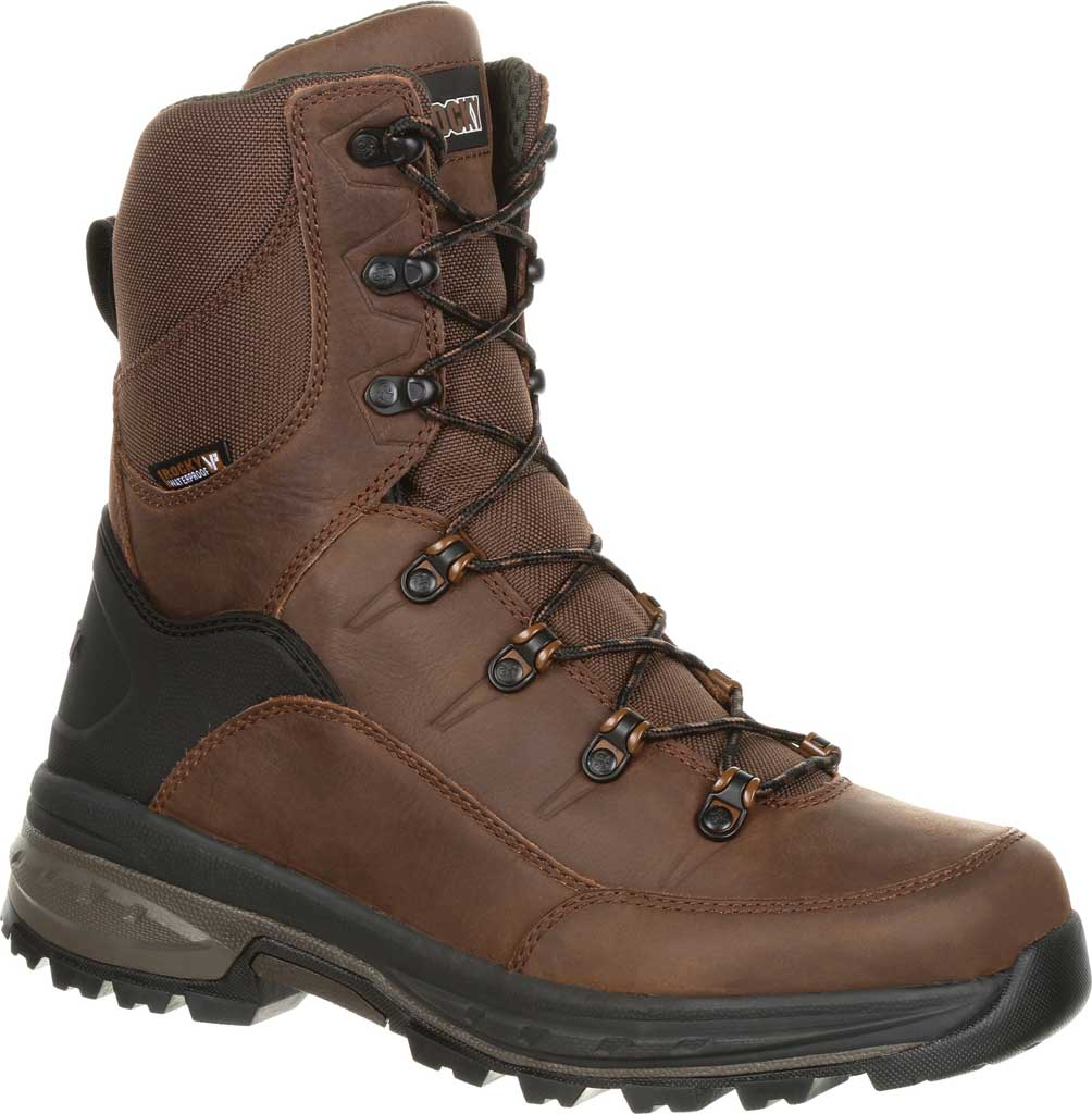 Men's Rocky Grizzly WP 200G Insulated Outdoor Boot RKS0365, Dark Brown Full Grain Leather/Nylon, large, image 1