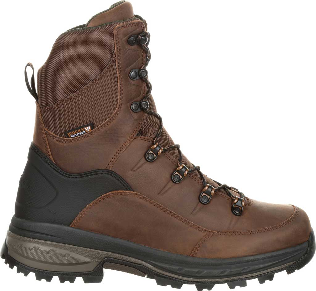 Men's Rocky Grizzly WP 200G Insulated Outdoor Boot RKS0365, Dark Brown Full Grain Leather/Nylon, large, image 2
