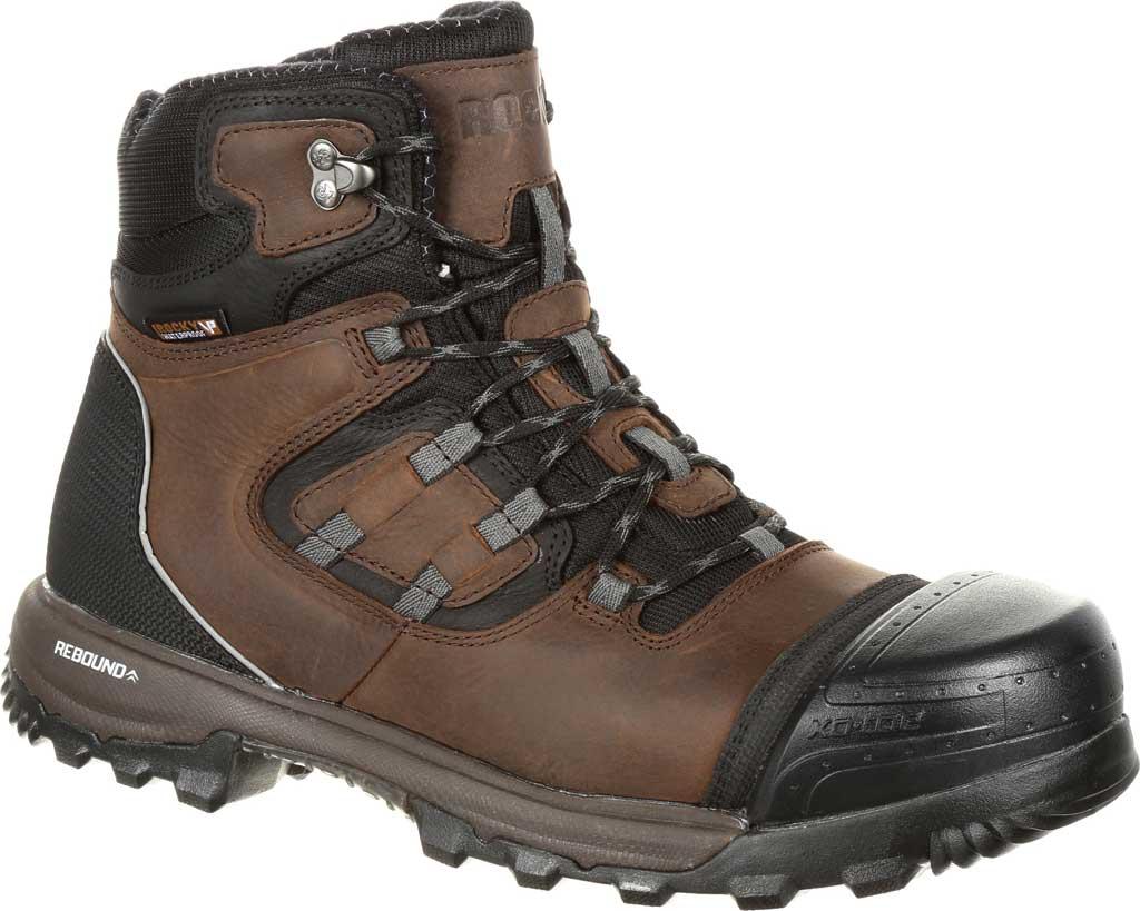 Men's Rocky XO-Toe Composite Waterproof Work Boot RKK0253, Brown Full Grain Leather/Synthetic, large, image 1