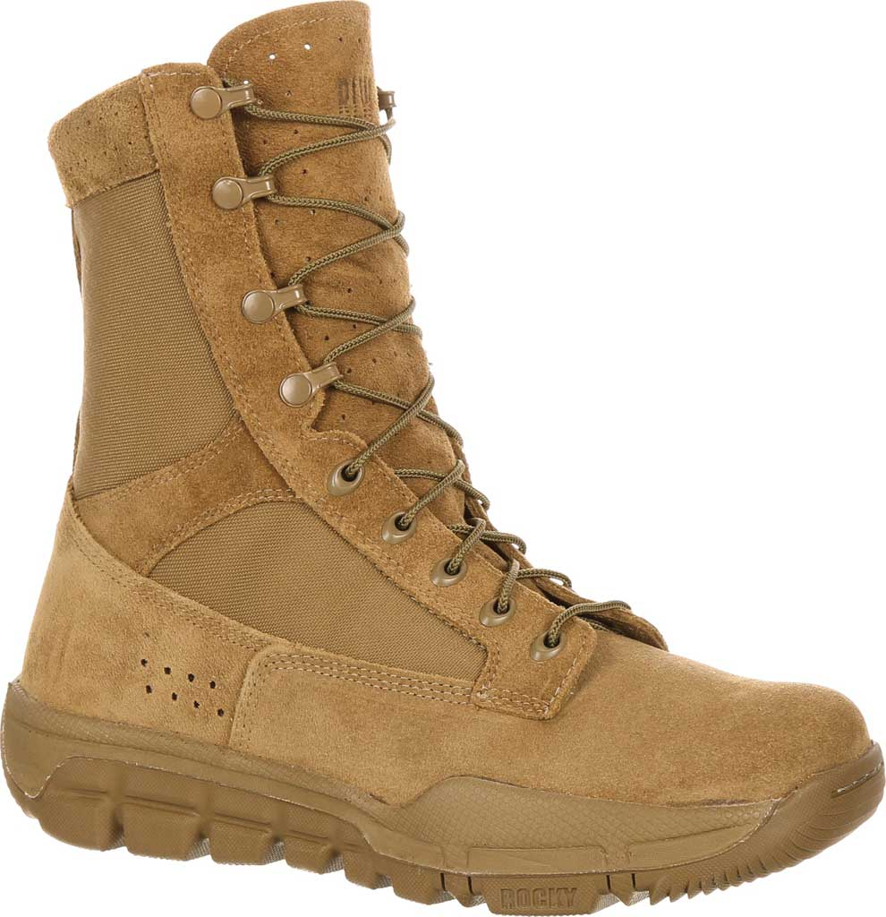 Men's Rocky Lightweight Commercial Military Boot RKC042, Coyote Brown Leather/Cordura, large, image 1