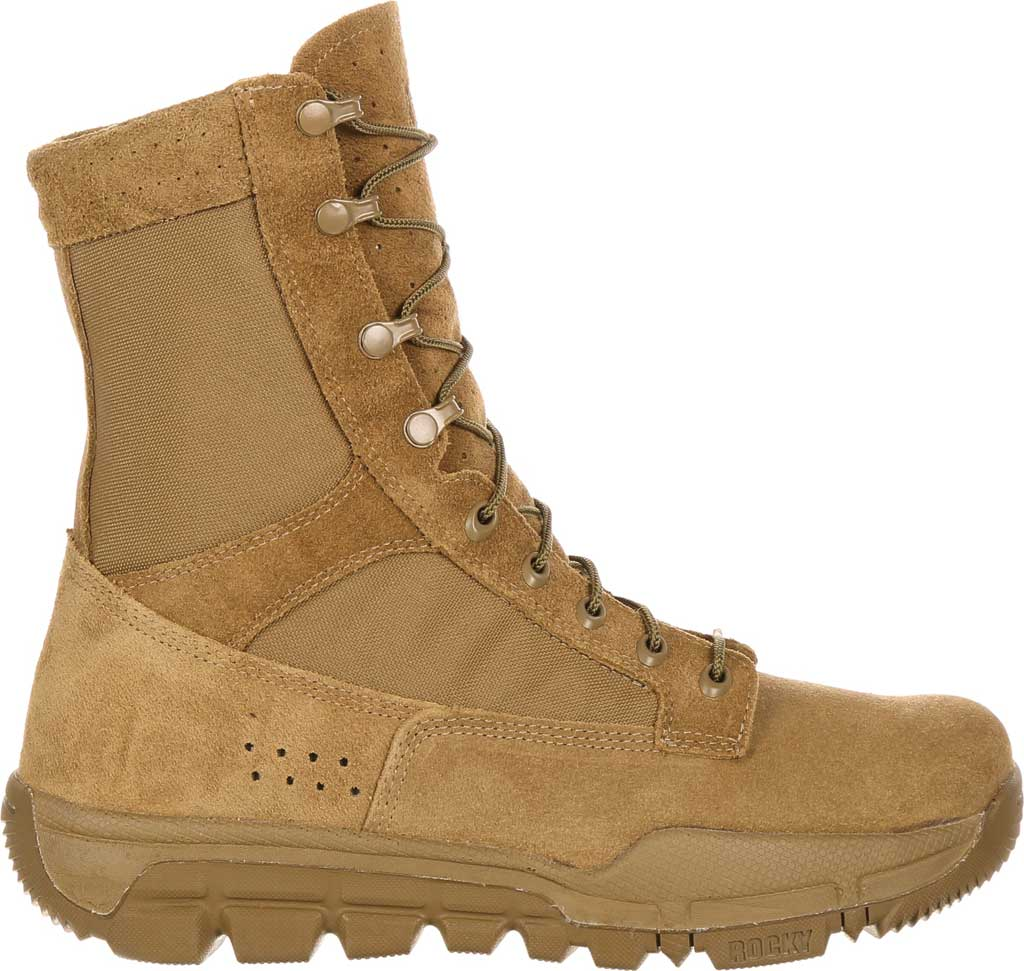 Men's Rocky Lightweight Commercial Military Boot RKC042, Coyote Brown Leather/Cordura, large, image 2