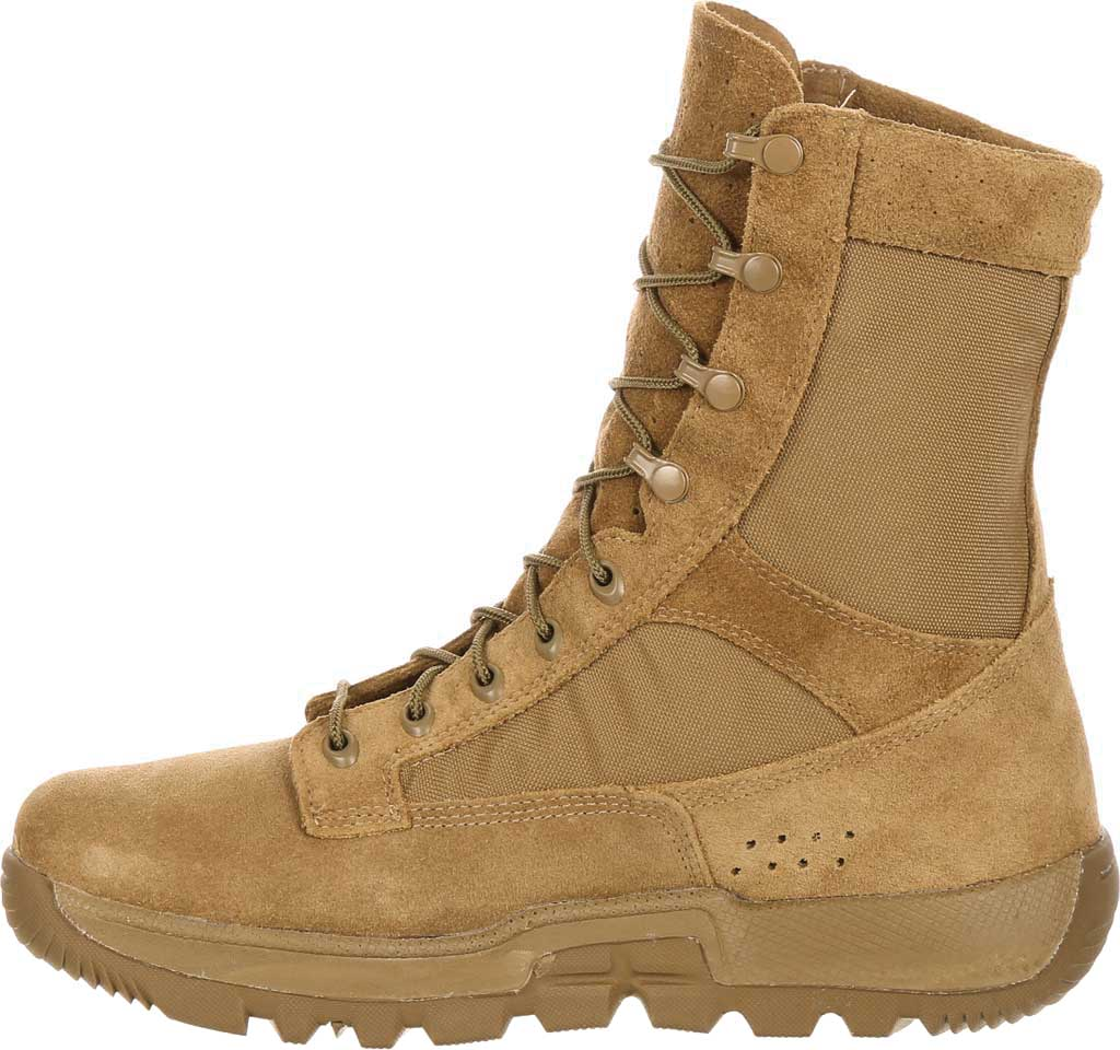 Men's Rocky Lightweight Commercial Military Boot RKC042, Coyote Brown Leather/Cordura, large, image 3