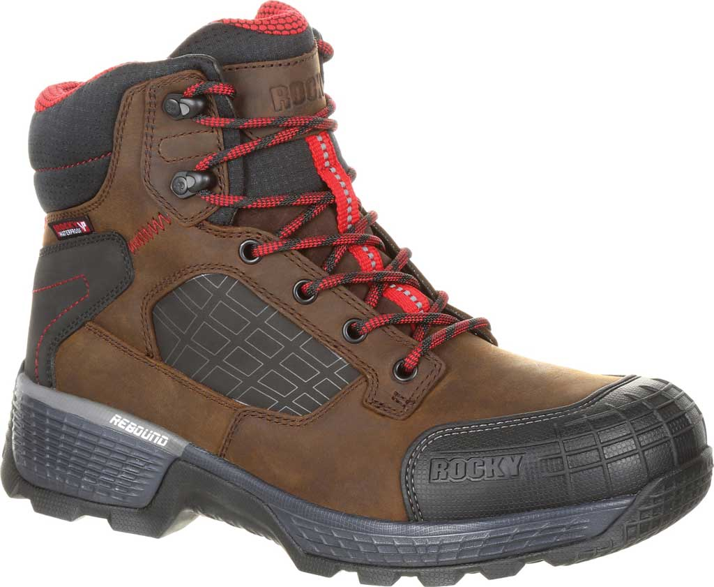 "Men's Rocky Treadflex Composite Toe WP 6"" Work Boot RKK0238"", Dark Brown Full Grain Leather/Synthetic, large, image 1"