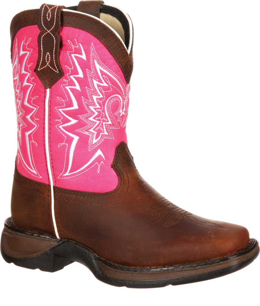 Children's Durango Boot DWBT094 Lil' Durango Let Love Fly Boot - Big Kid, Brown/Pink Full Grain Leather, large, image 1