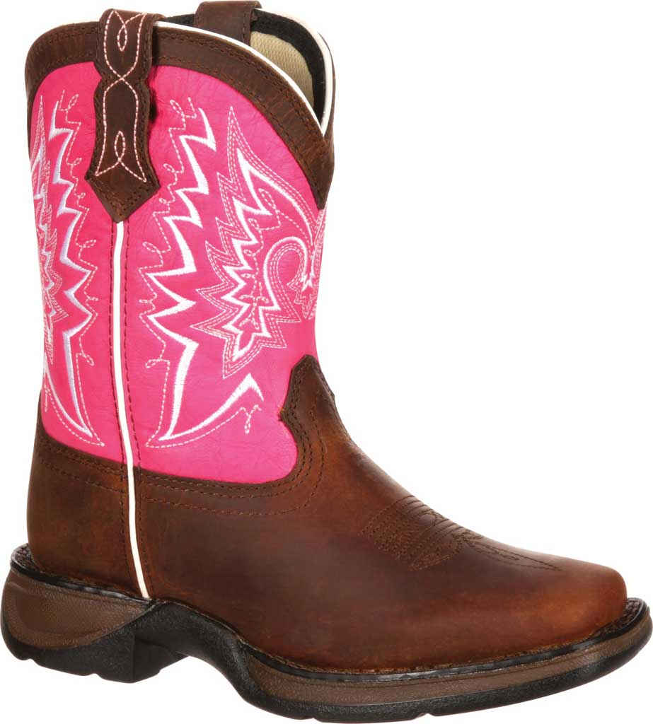 Infant Durango Boot DWBT092 Lil' Durango Let Love Fly Western Boot, Brown/Pink Full Grain Leather, large, image 1