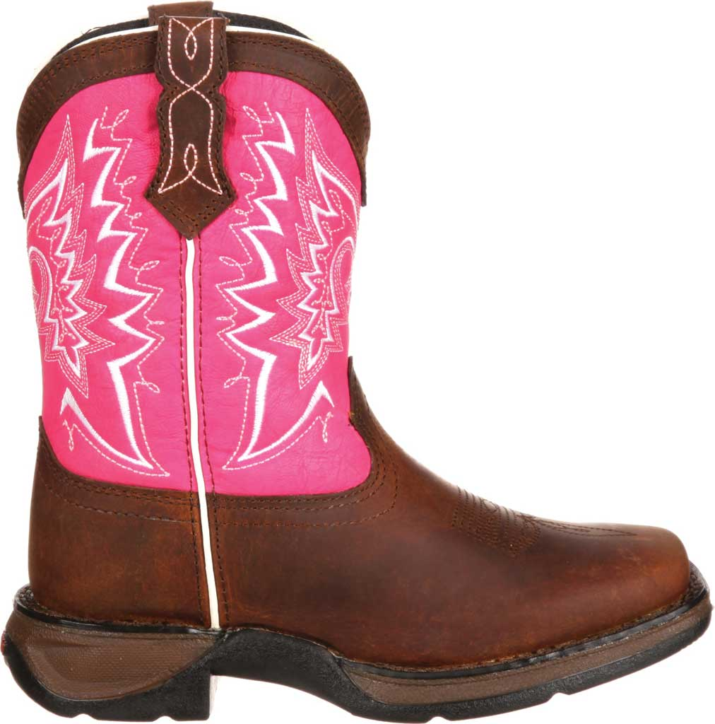 Infant Durango Boot DWBT092 Lil' Durango Let Love Fly Western Boot, Brown/Pink Full Grain Leather, large, image 2