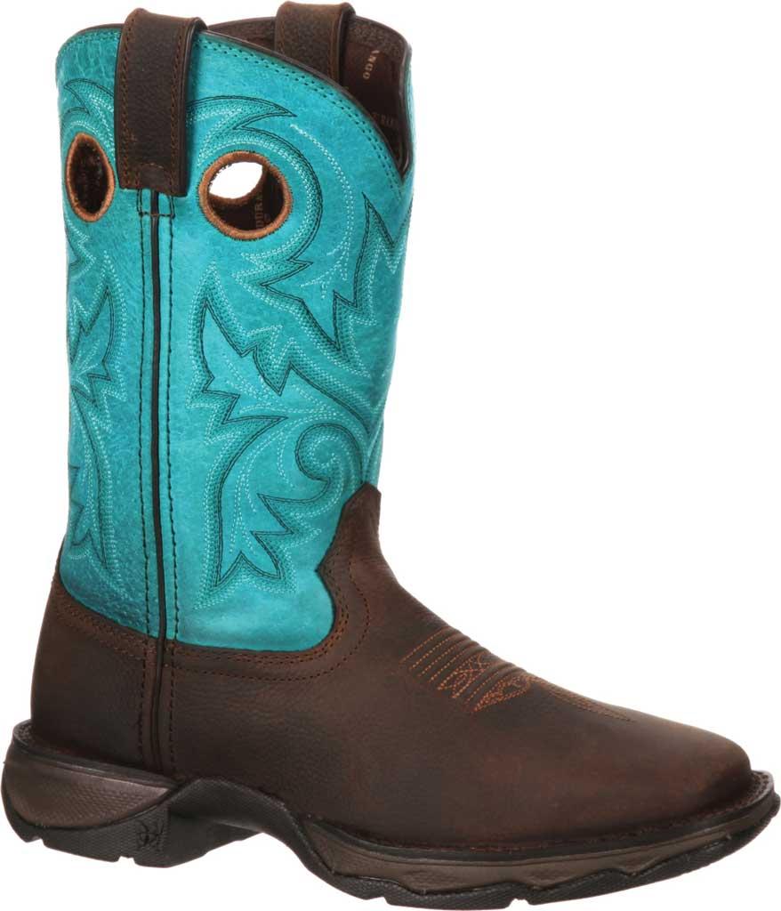 Women's Durango Boot DWRD022 Lady Rebel Western Steel Toe Boot, Brown/Turquoise Full Grain Leather, large, image 1