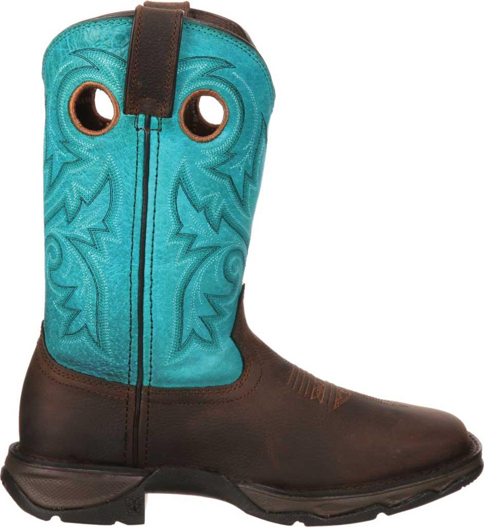 Women's Durango Boot DWRD022 Lady Rebel Western Steel Toe Boot, Brown/Turquoise Full Grain Leather, large, image 2