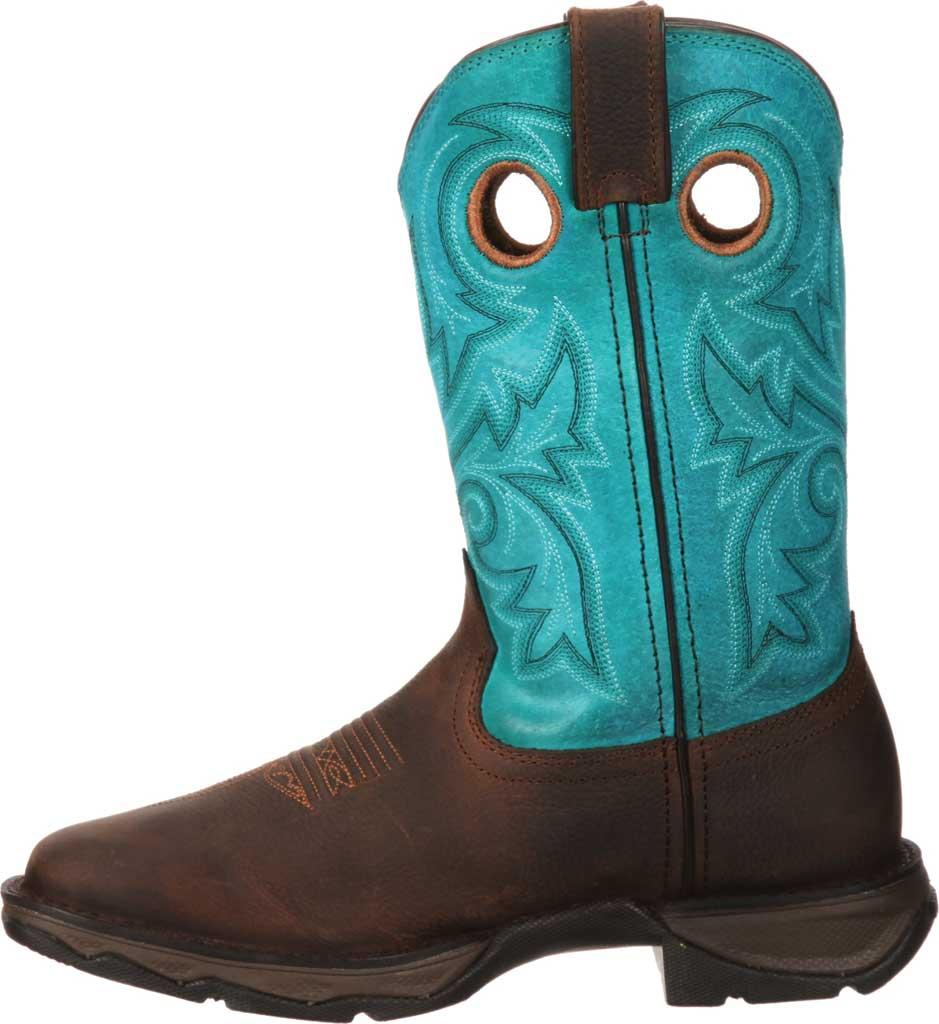 Women's Durango Boot DWRD022 Lady Rebel Western Steel Toe Boot, Brown/Turquoise Full Grain Leather, large, image 3