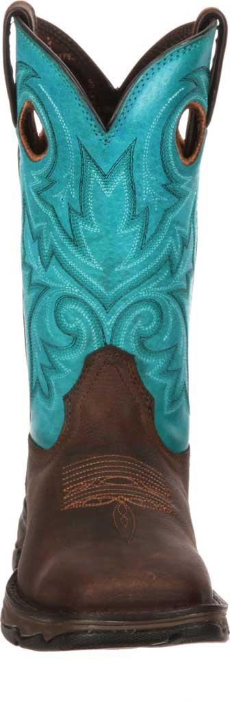 Women's Durango Boot DWRD022 Lady Rebel Western Steel Toe Boot, Brown/Turquoise Full Grain Leather, large, image 4