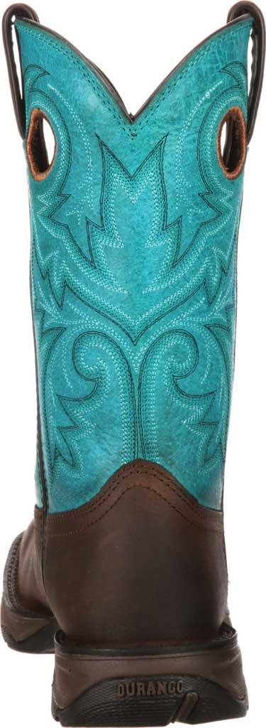 Women's Durango Boot DWRD022 Lady Rebel Western Steel Toe Boot, Brown/Turquoise Full Grain Leather, large, image 5
