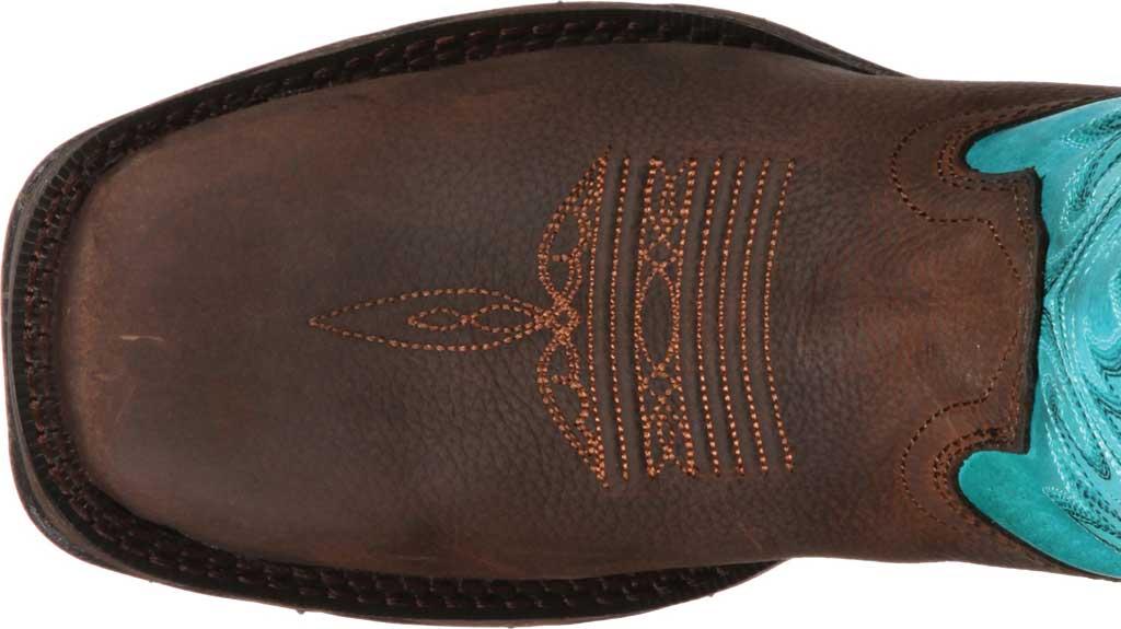 Women's Durango Boot DWRD022 Lady Rebel Western Steel Toe Boot, Brown/Turquoise Full Grain Leather, large, image 6