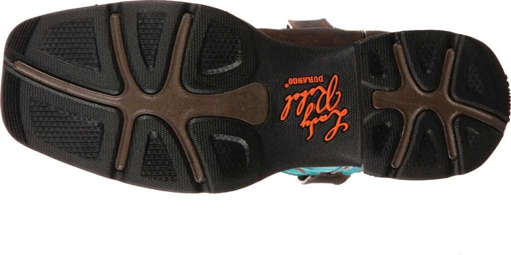 Women's Durango Boot DWRD022 Lady Rebel Western Steel Toe Boot, Brown/Turquoise Full Grain Leather, large, image 7