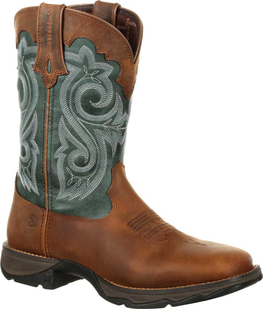 Women's Durango Boot DRD0312 Lady Rebel Western Waterproof Boot, Brown/Evergreen Full Grain Leather/Faux, large, image 1