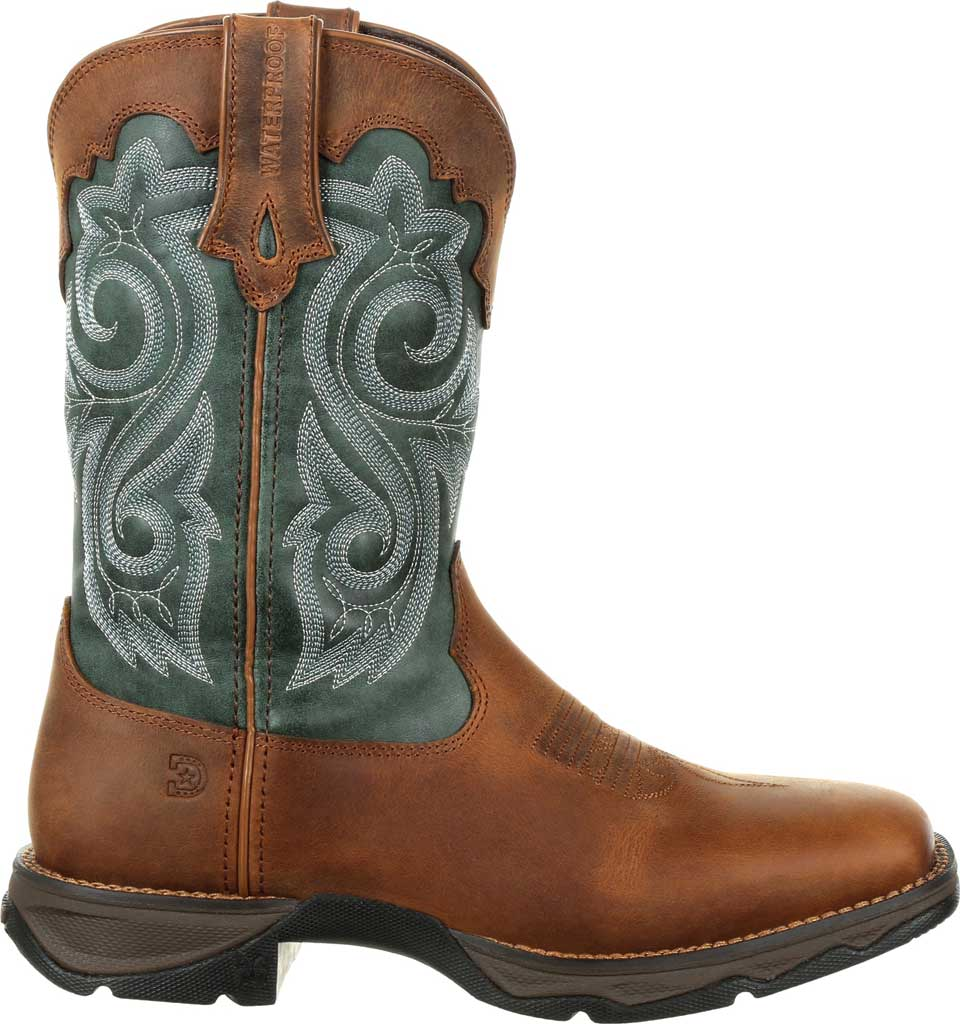 Women's Durango Boot DRD0312 Lady Rebel Western Waterproof Boot, Brown/Evergreen Full Grain Leather/Faux, large, image 2