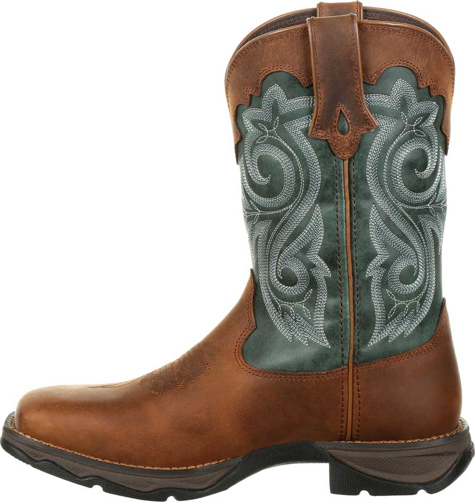 Women's Durango Boot DRD0312 Lady Rebel Western Waterproof Boot, Brown/Evergreen Full Grain Leather/Faux, large, image 3