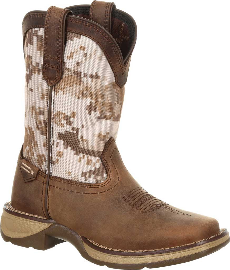 Children's Durango Boot DBT0208C Lil' Rebel Cowboy Boot - Little Kid, Dusty Brown/Desert Camo Full Grain Leather/Nylon, large, image 1