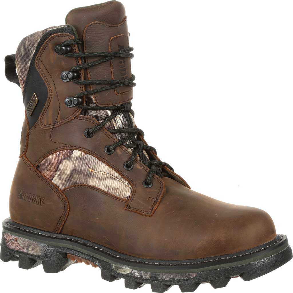 Men's Rocky BearClaw FX 800G Insulated WP Outdoor Boot RKS0399, Brown/Mossy Oak Country Full Grain Leather/Nylon, large, image 1