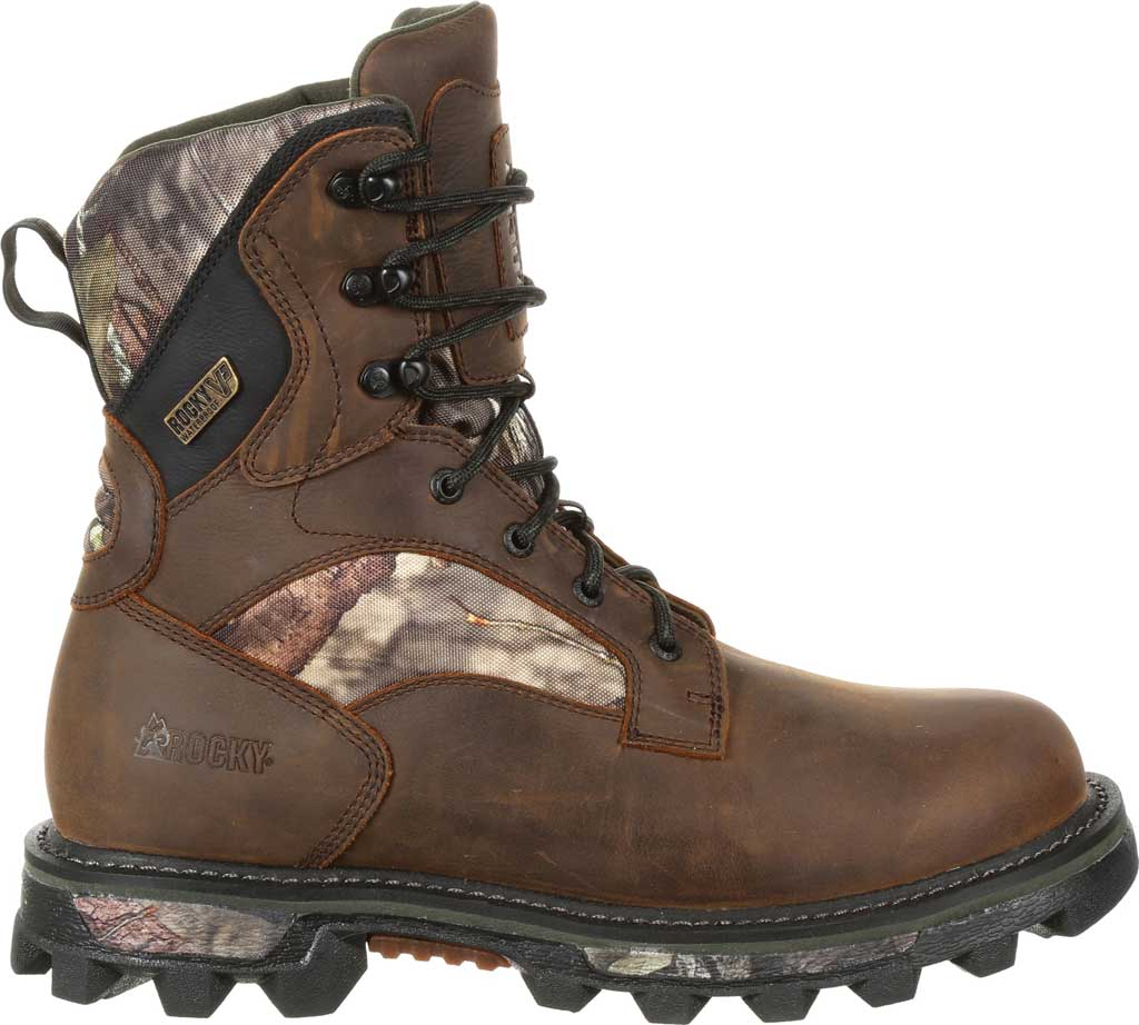 Men's Rocky BearClaw FX 800G Insulated WP Outdoor Boot RKS0399, Brown/Mossy Oak Country Full Grain Leather/Nylon, large, image 2