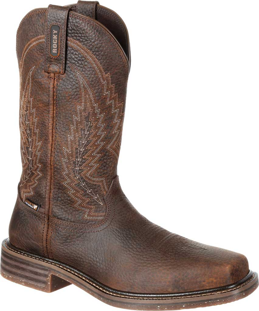 Men's Rocky Riverbend Composite Toe WP Western Boot RKW0228, Dark Brown Full Grain Leather, large, image 1