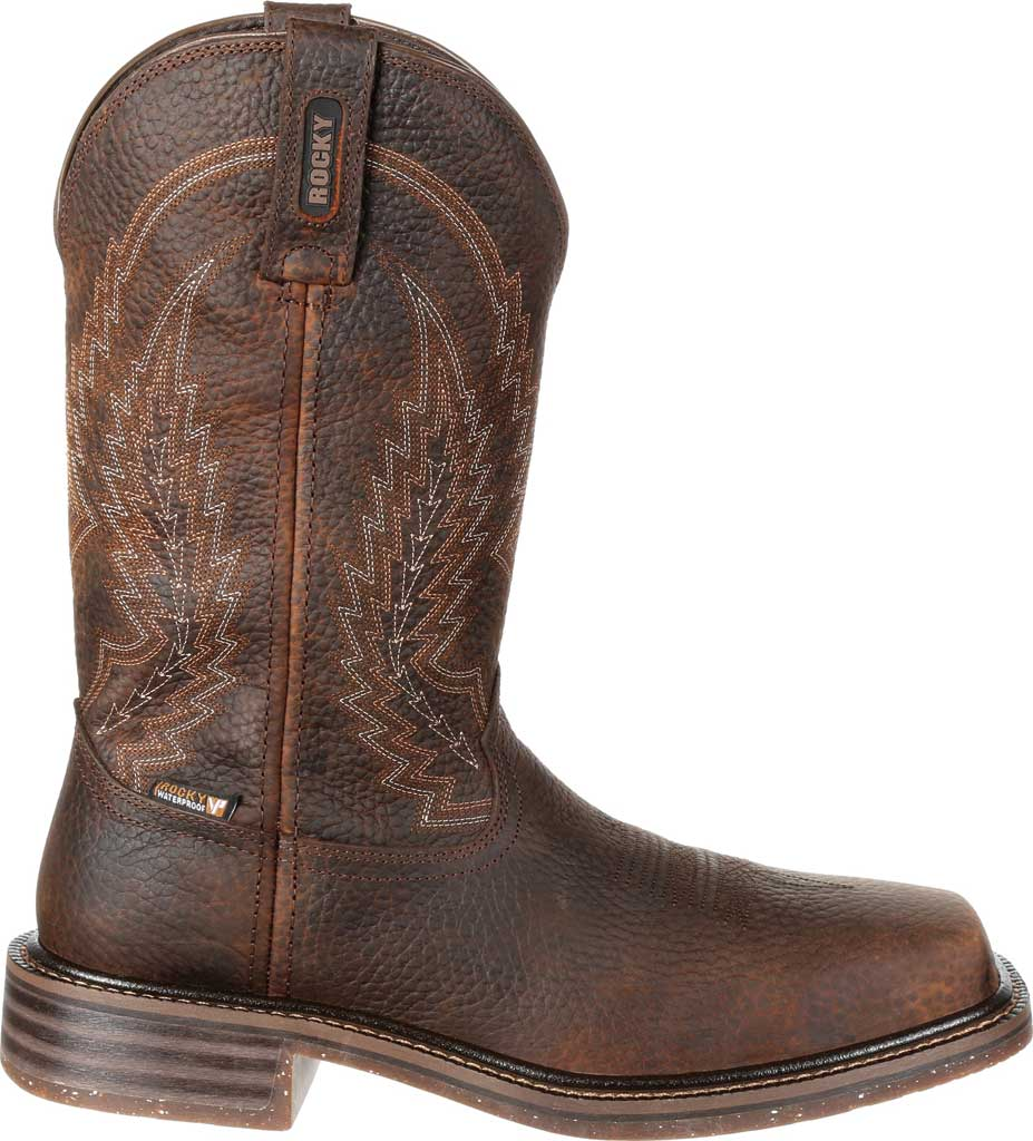 Men's Rocky Riverbend Composite Toe WP Western Boot RKW0228, Dark Brown Full Grain Leather, large, image 2
