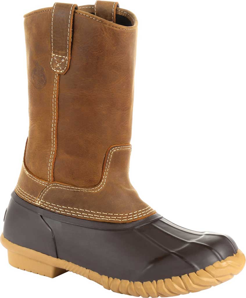 Men's Georgia Boot GB00276 Marshland Pull On Duck Boot, Brown Leather/Textile, large, image 1