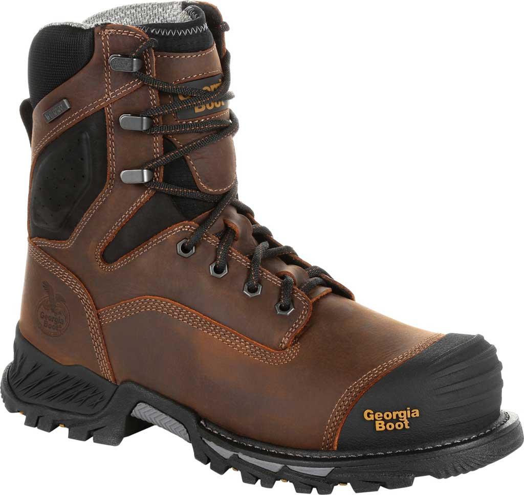 """Men's Georgia Boot GB00284 8"""" Rumbler Comp Toe Waterproof Work Boot, Black/Brown Full Grain Leather, large, image 1"""