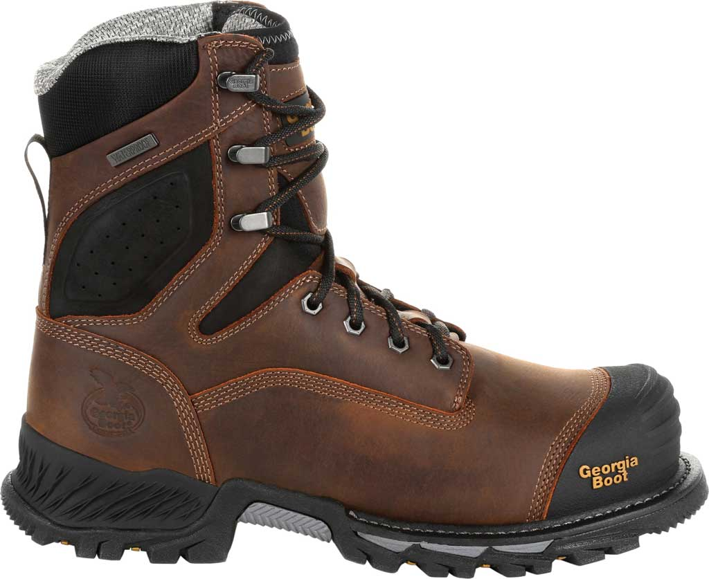 """Men's Georgia Boot GB00284 8"""" Rumbler Comp Toe Waterproof Work Boot, Black/Brown Full Grain Leather, large, image 2"""