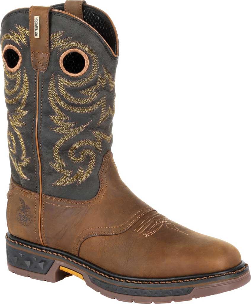 Men's Georgia Boot GB00266 Carbo-Tec LT Waterproof Pull On Work Boot, Black/Brown Full Grain SPR Leather, large, image 1