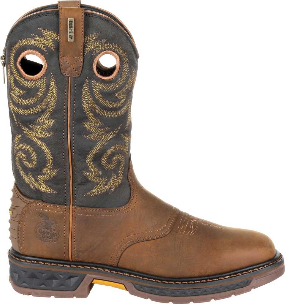 Men's Georgia Boot GB00266 Carbo-Tec LT Waterproof Pull On Work Boot, Black/Brown Full Grain SPR Leather, large, image 2