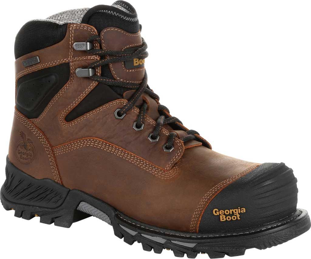 """Men's Georgia Boot GB00284 6"""" Rumbler Comp Toe Waterproof Work Boot, Black/Brown Full Grain Leather, large, image 1"""