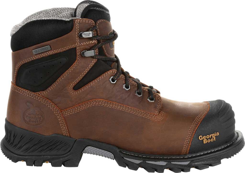 """Men's Georgia Boot GB00284 6"""" Rumbler Comp Toe Waterproof Work Boot, Black/Brown Full Grain Leather, large, image 2"""