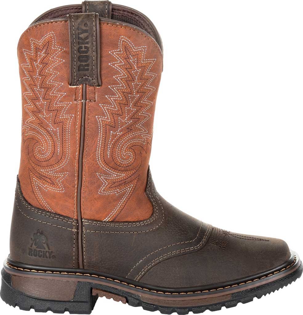 """Children's Rocky 8"""" Ride FLX Western Boot RKW0257Y, Dark Chocolate/Burnt Orange Leather/Synthetic, large, image 2"""