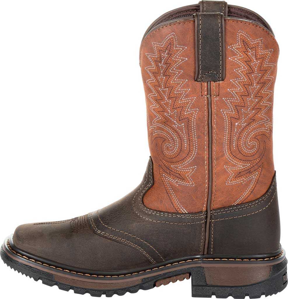 """Children's Rocky 8"""" Ride FLX Western Boot RKW0257Y, Dark Chocolate/Burnt Orange Leather/Synthetic, large, image 3"""