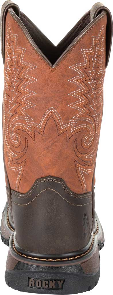 """Children's Rocky 8"""" Ride FLX Western Boot RKW0257Y, Dark Chocolate/Burnt Orange Leather/Synthetic, large, image 4"""